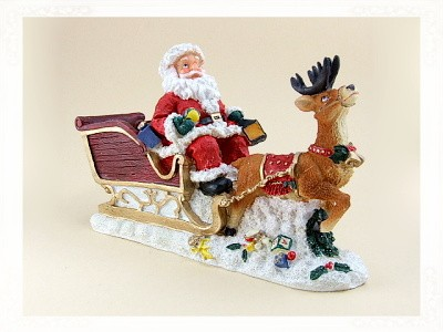 Weihnachtsmann mit Schlitten groß