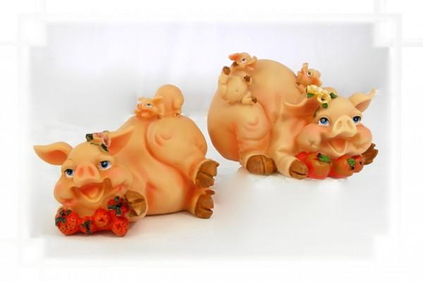 Spardose lachendes Schwein mit Ferkeln aus Steinharz