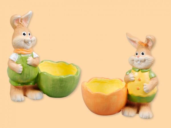 Hase mit Eierbecher aus Porzellan, 2 Stück