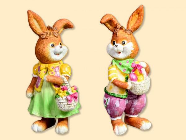 Hasenmann und Hasenfrau stehend Comic, 2 Stück