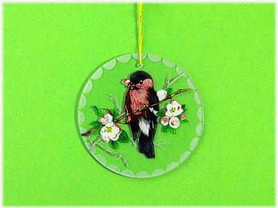 Behang/Fensterbild rund/oval bunter Vogel
