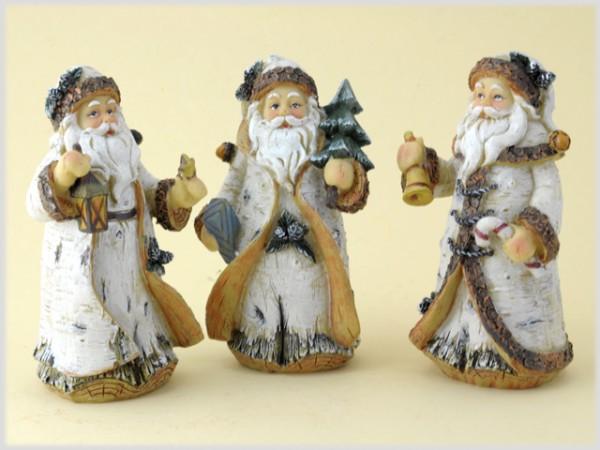 Weihnachtsmann klein im Birkendesign aus Steinharz