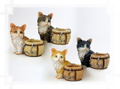 Katze an Pflanzgefäß