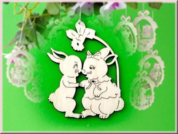 Baumbehang/Fensterbild Hasenpaar mit Narzisse