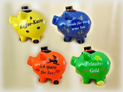 Sparschweinchen groß mit Spruch aus Porzellan, 4 Sorten