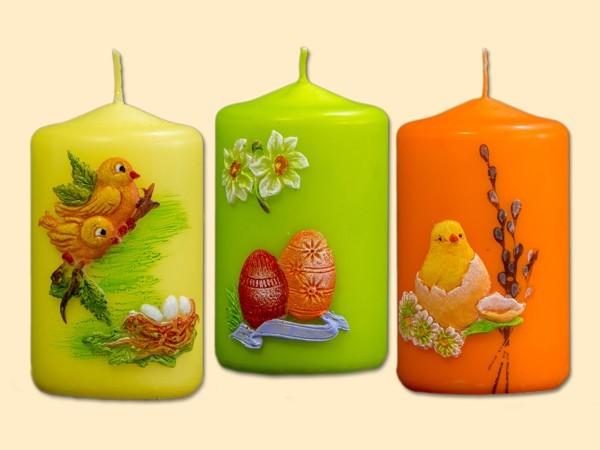 Stumpenkerze Ostern mit Motiv 3-teiliges Set