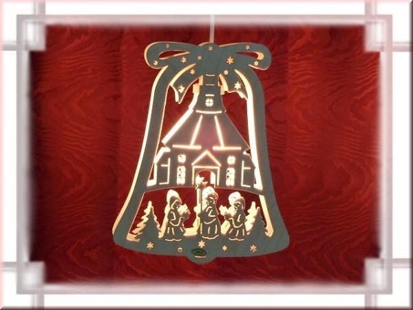 Fensterbild Glocke Seiffner Kirche beleuchtet
