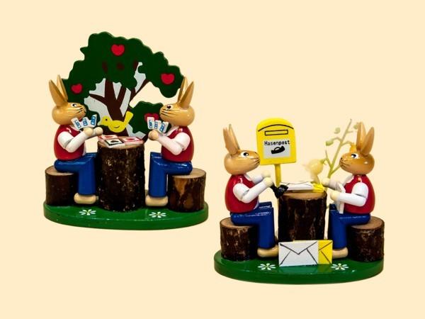 Osterszene Hasen Kartenspieler und Hasenpost aus Holz