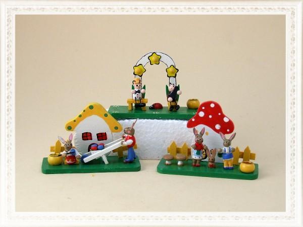 Deko-Osterszene aus Holz mit Kerzenhalter, Setpreis 3 Stück