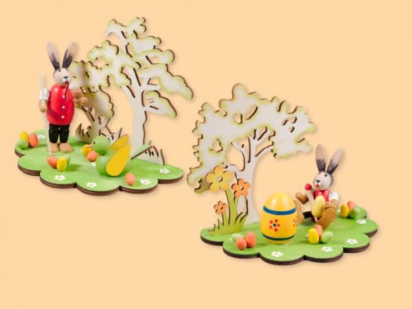 Osterszene farbig aus Holz als Osterdekoration