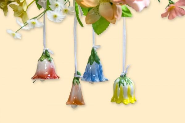 Blütenglocke aus Porzellan zum Hängen, 4 Stück