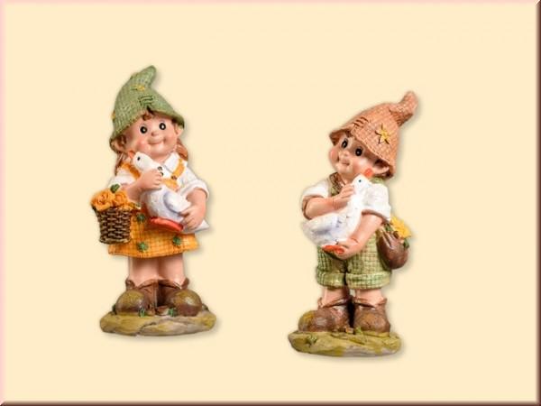 Gartenkind Junge und Mädchen 12cm, 2 Stück