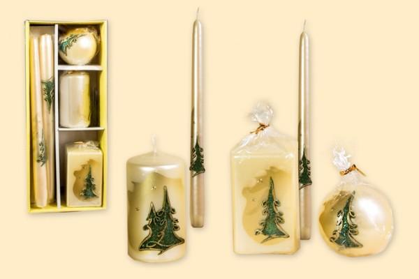 Geschenkpackung Kerzen 5-teiliges Set - Motiv Tanne metallic