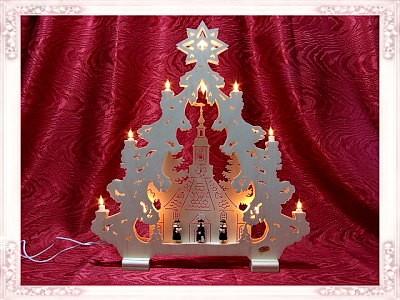 Lichterspitze Seiffner Kirche 2D mit Kurrendefiguren