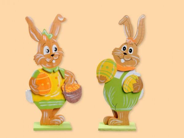 Standbild Hase aus Holz 40cm als Dekoration für Ostern