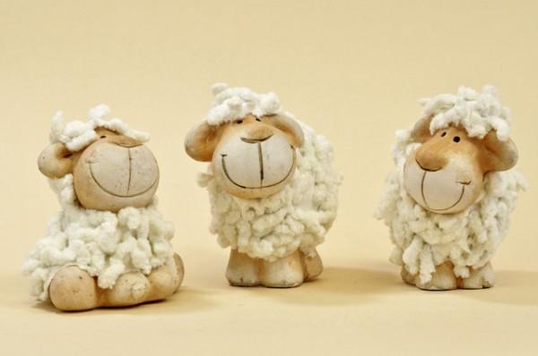Schaf mit Kunstfell aus Keramik, Stückpreis