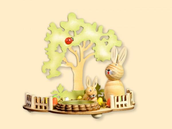 Osterszene mit Teelichthalter mit 2 Hasen
